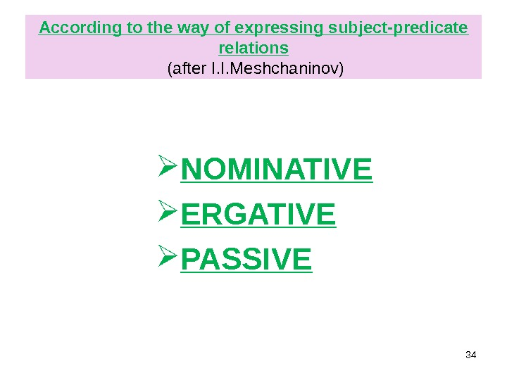 According to the way of expressing subject-predicate relations  (after I. I. Meshchaninov)  NOMINATIVE ERGATIVE