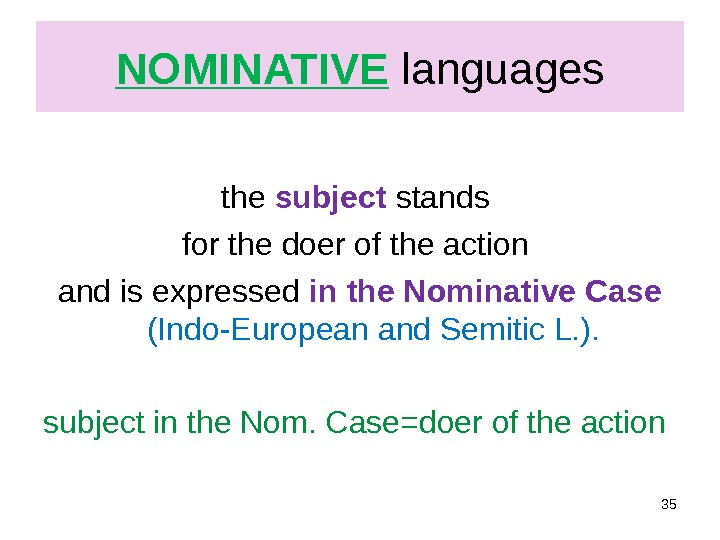 NOMINATIVE  languages  the subject stands for the doer of the action and is expressed