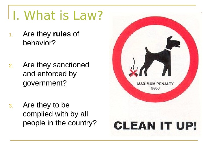 I. What is Law? 1. Are they rules of behavior? 2. Are they sanctioned