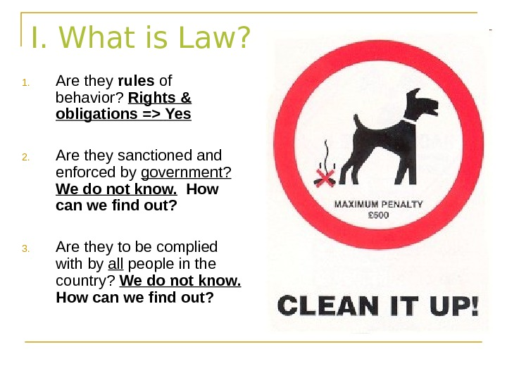I. What is Law? 1. Are they rules of behavior?  Rights & obligations