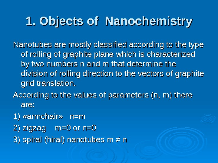 1. Objects of Nanochemistry Nanotubes are mostly classified according to the type of rolling of graphite