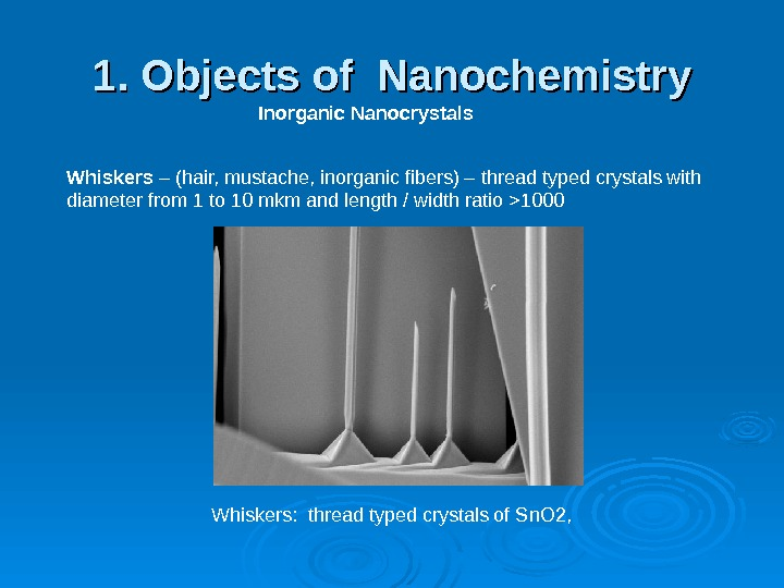 1. Objects of Nanochemistry Inorganic Nanocrystals Whiskers – (hair, mustache, inorganic fibers) – thread typed crystals