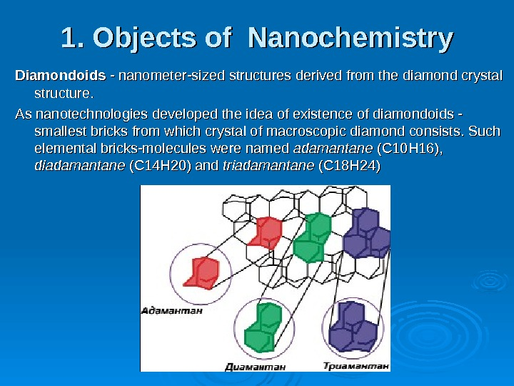 1. Objects of Nanochemistry Diamondoids - nanometer-sized structures derived from the diamond crystal structure. As nanotechnologies
