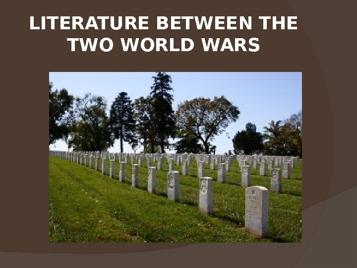 LITERATURE BETWEEN THE TWO WORLD WARS