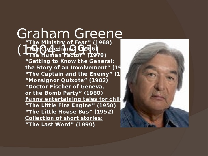 "Graham Greene (1904 -1991) "" The Ministry of Fear"" (1968) "" The Comedians"" (1966) "" The"