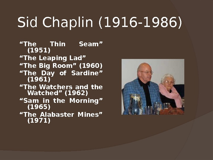 "Sid Chaplin (1916 -1986)  "" The Thin Seam"" (1951) "" The Leaping Lad"" "" The"