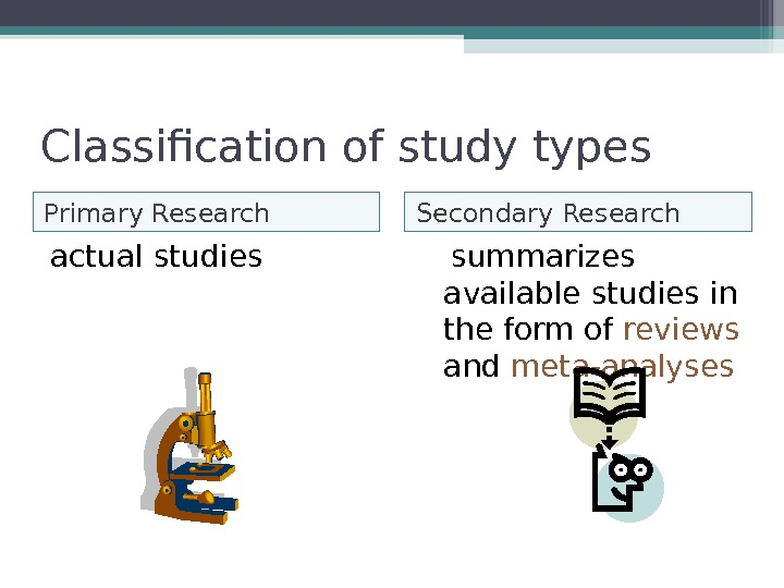 Classification of study types Primary Research Secondary Research actual studies summarizes available studies in the form