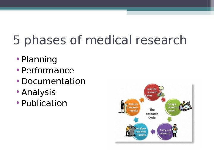 5 phases of medical research • Planning • Performance • Documentation • Analysis • Publication