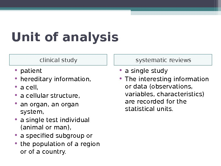 Unit of analysis clinical study systematic reviews • patient  • hereditary information,  • a