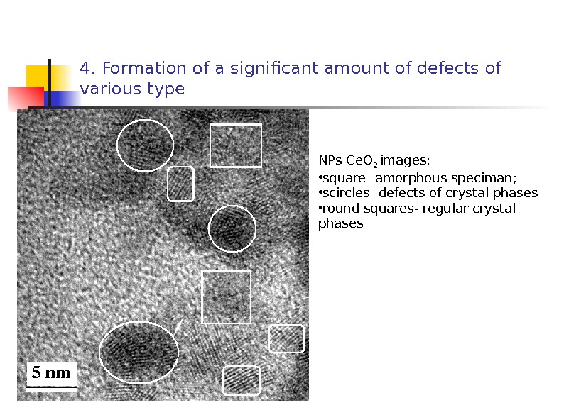 4. Formation of a significant amount of defects of various type NPs С e. O 2