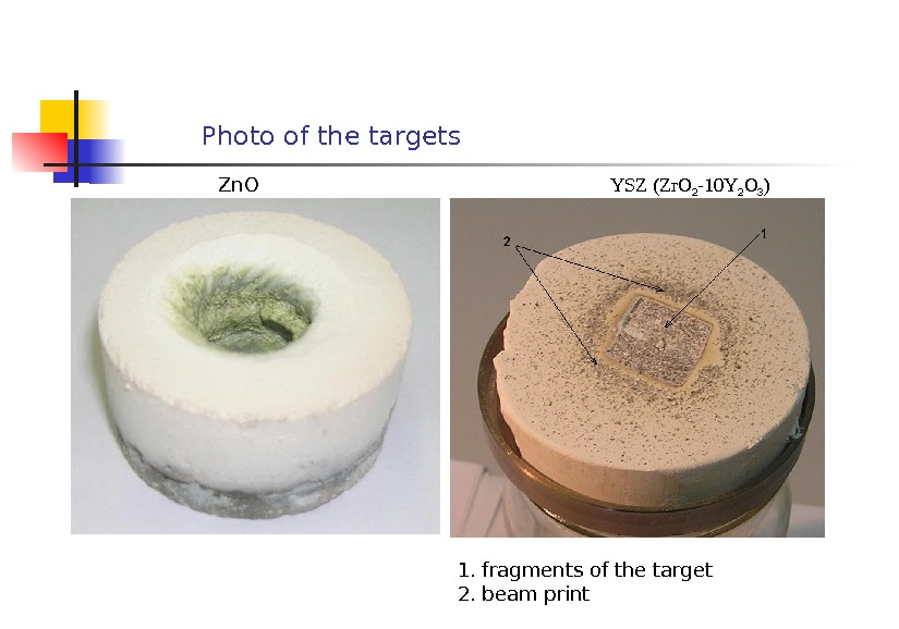 Photo of the targets Zn. O YSZ (Zr. O 2 -10 Y 2 O 3 )