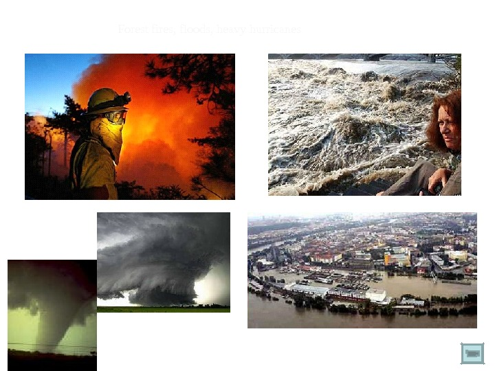 Forest fires, floods, heavy hurricanes
