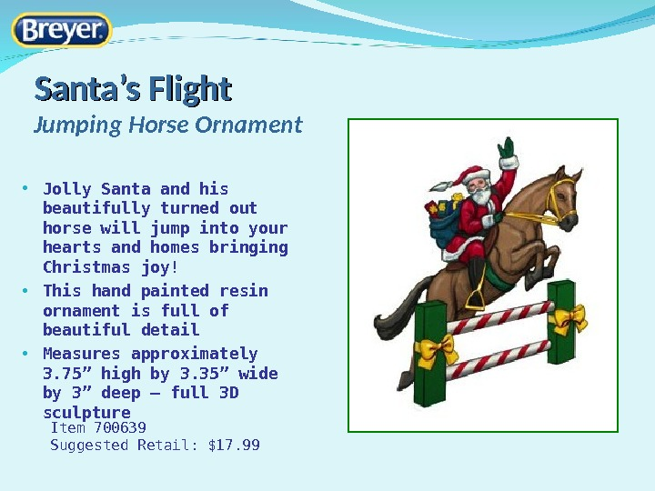 Santa 's Flight Jumping Horse Ornament • Jolly Santa and his beautifully turned out horse will