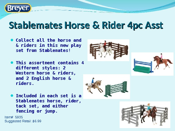 Stablemates Horse & Rider 4 pc Asst Collect all the horse and & riders in this