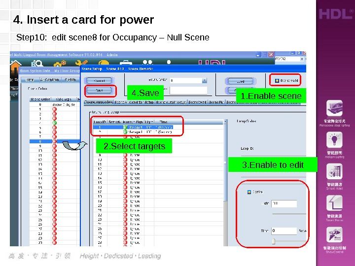 4. Insert a card for power Step 10:  edit scene 8 for Occupancy – Null