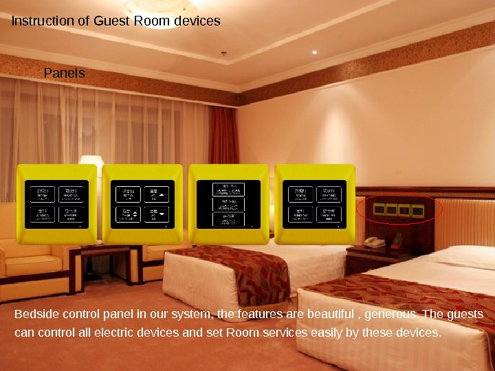 Bedside control panel in our system, the features are beautiful , generous. The guests can control