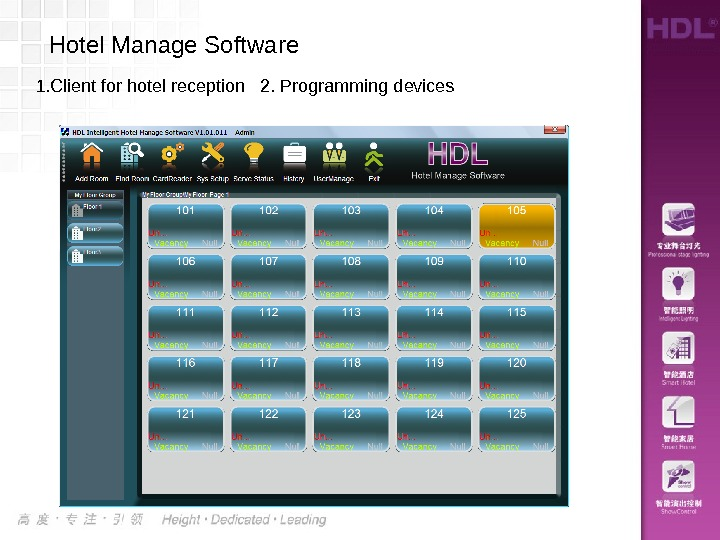1. Client for hotel reception  2. Programming devices Hotel Manage Software