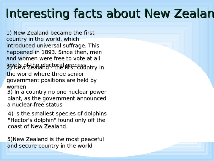 Interesting facts about New Zealand 1) New Zealand became the first country in the world, which