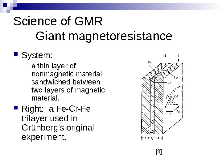 Science of GMR Giant magnetoresistance System:  a thin layer of nonmagnetic material sandwiched