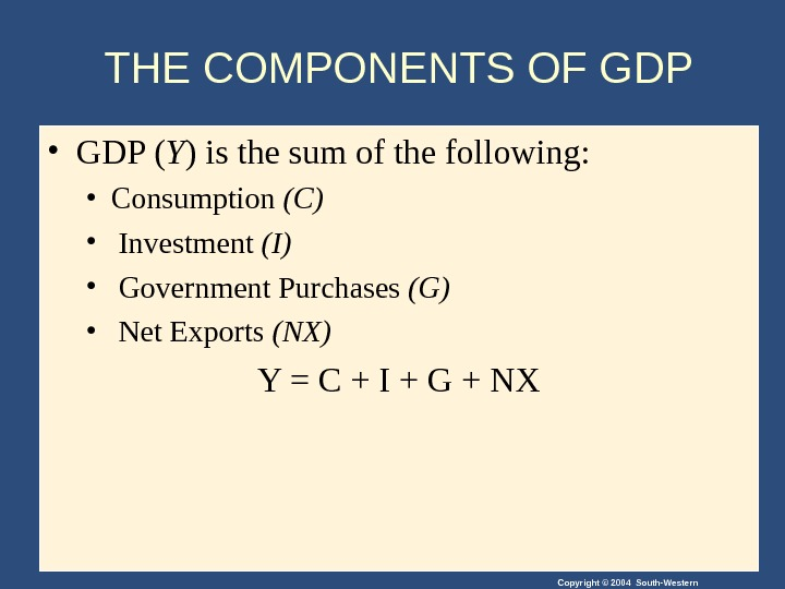 Copyright © 2004 South-Western. THE COMPONENTS OF GDP • GDP ( Y ) is the sum