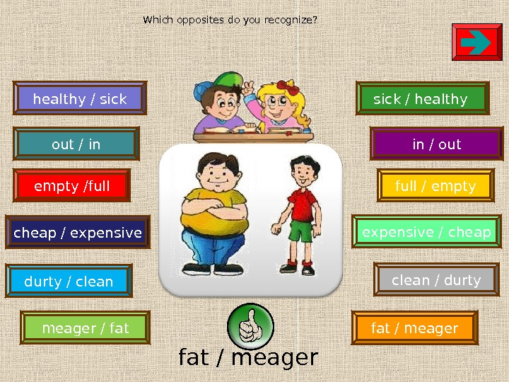 meager / fat / meager clean / durtyempty /full / empty durty / clean healthy /