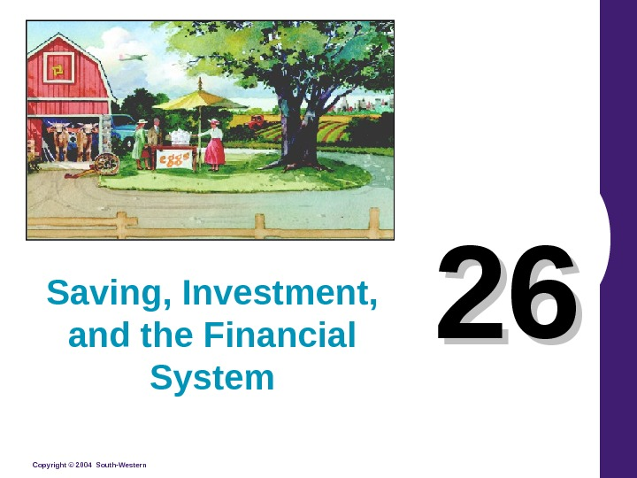 Copyright © 2004 South-Western 2626 Saving, Investment,  and the Financial System
