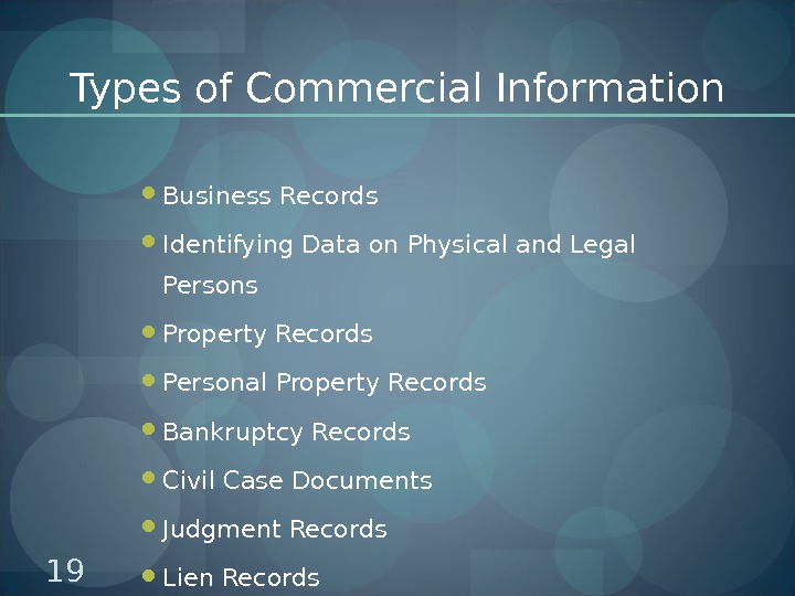 Types of Commercial Information Business Records Identifying Data on Physical and Legal Persons Property Records Personal