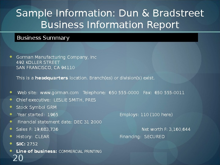 Sample Information: Dun & Bradstreet Business Information Report Gorman Manufacturing Company, Inc 492 KOLLER STREET SAN