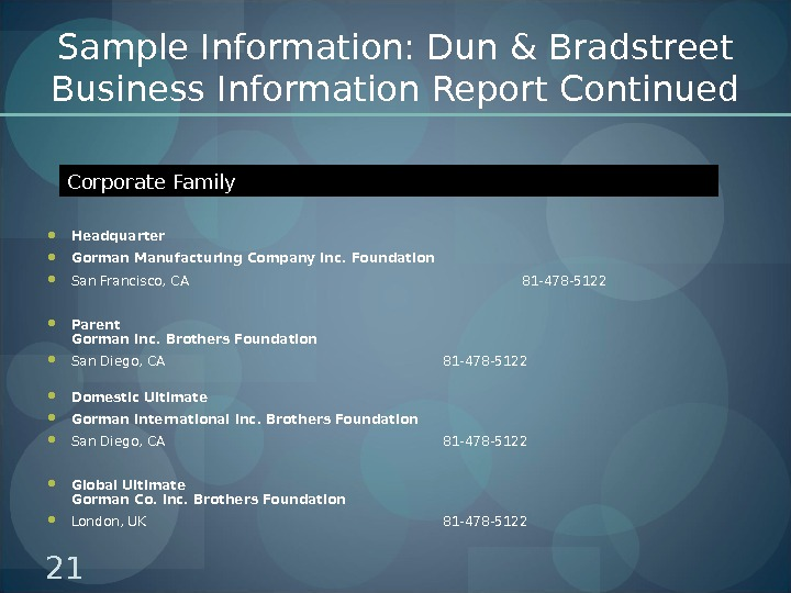 Sample Information: Dun & Bradstreet Business Information Report Continued Headquarter Gorman Manufacturing Company Inc. Foundation