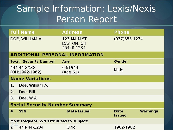 Sample Information: Lexis/Nexis Person Report Full Name Address Phone DOE, WILLIAM A. 123 MAIN ST DAYTON,