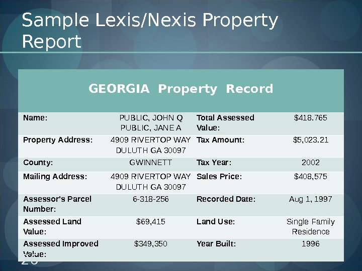 Sample Lexis/Nexis Property Report GEORGIA Property Record  Name:  PUBLIC, JOHN Q PUBLIC, JANE A