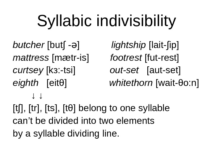 Syllabic indivisibility butcher [but∫ - ]  ə lightship [lait-∫ip] mattress [mætr-is]   footrest [fut-rest]