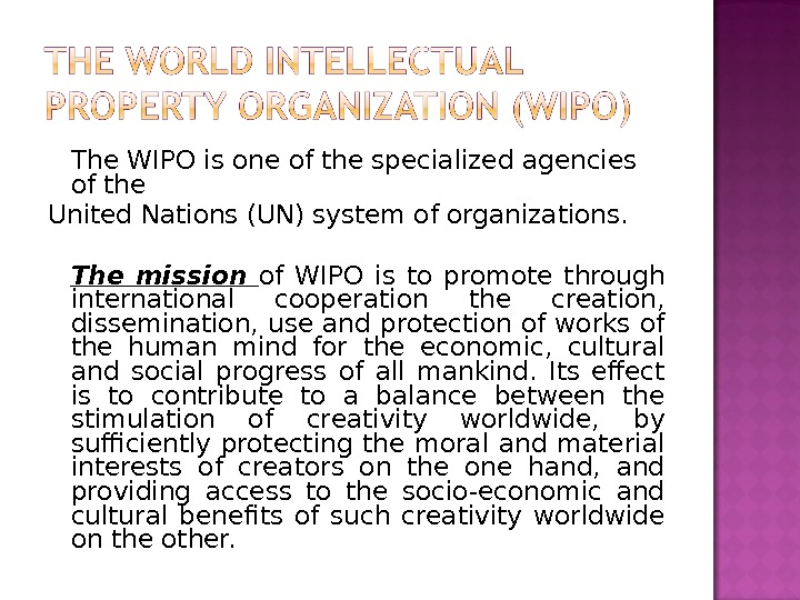 The WIPO is one of the specialized agencies of the United Nations (UN) system of organizations.