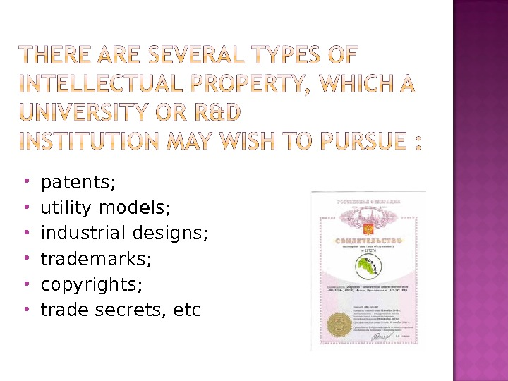 patents;  utility models;  industrial designs;  trademarks;  copyrights;  trade secrets, etc