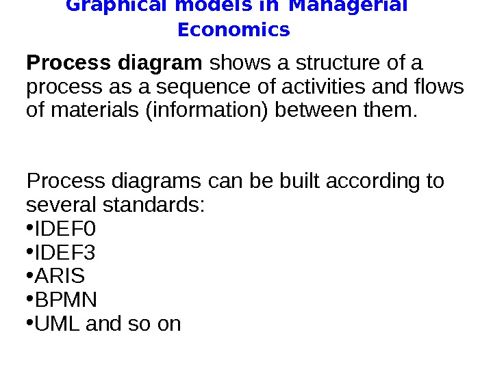 Graphical models in  Managerial Economics Process diagram shows a structure of a process