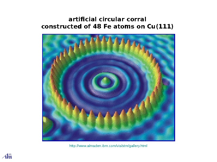 artificial circular corral constructed of 48 Fe atoms on Cu(111)  http: // www.
