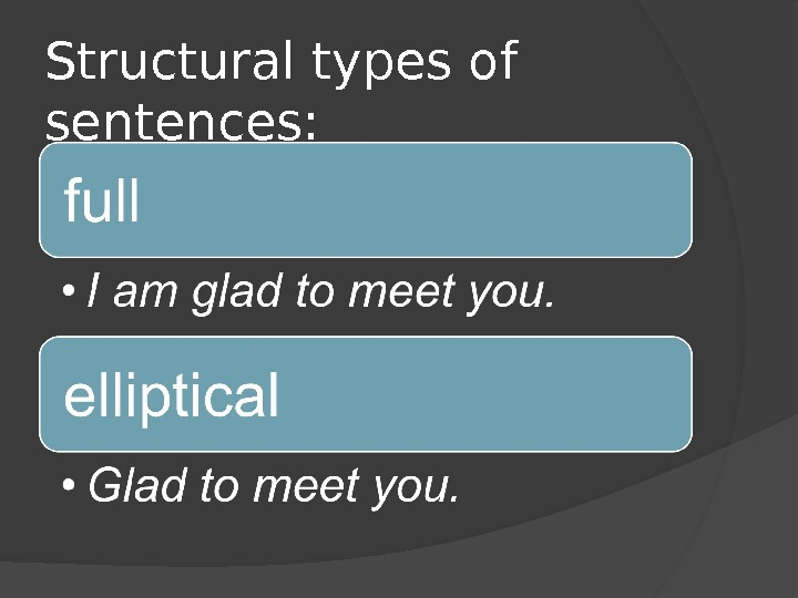 Structural types of sentences: