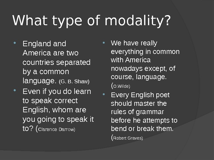What type of modality?  England America are two countries separated by a common language.