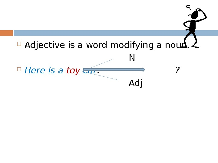 Adjective is a word modifying a noun.    N Here is a