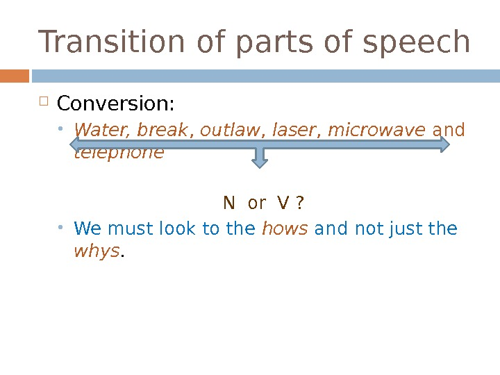 Transition of parts of speech Conversion:  Water, break ,  outlaw ,  laser ,