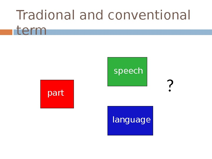 Tradional and conventional term part   speech language ?
