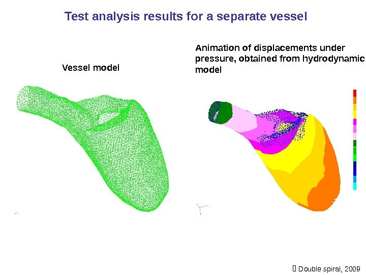 Test analysis results for a separate vessel Vessel model Animation of displacements under pressure, obtained from