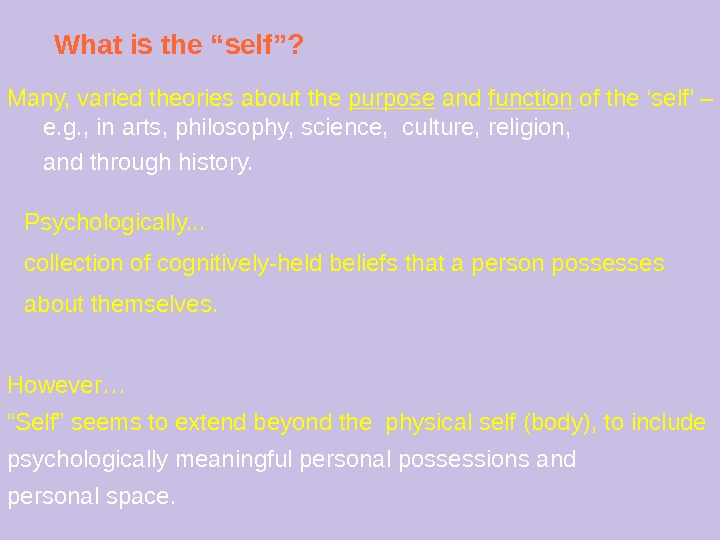 "What is the ""self""? Psychologically. . . collection of cognitively-held beliefs that a person possesses about"