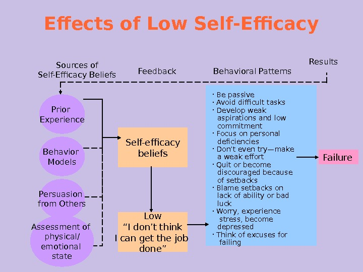 Effects of Low Self-Efficacy Sources of Self-Efficacy Beliefs Feedback Behavioral Patterns Results Self-efficacy beliefs  Be