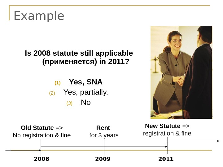Example New Statute = registration & fine 2011 Rent for 3 years 2008 Is