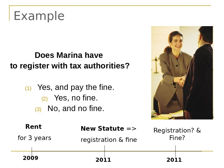 Example New Statute = registration & fine 2011 Rent for 3 years 2009 2011