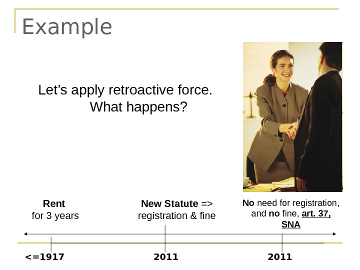 Example New Statute = registration & fine 2011 Rent for 3 years =1917 2011
