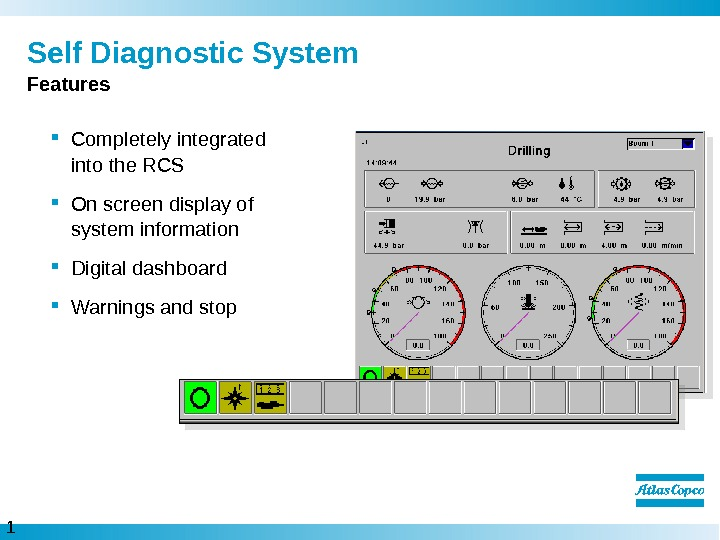 1 5  Self Diagnostic System Completely integrated into the RCS On screen display of system