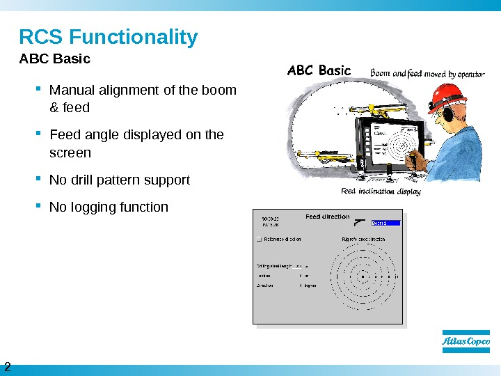 2 0  RCS Functionality Manual alignment of the boom & feed  Feed angle displayed
