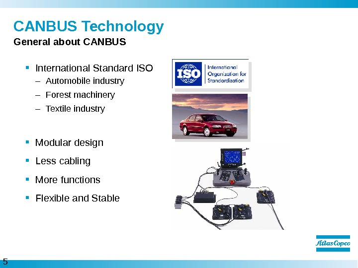 5  CANBUS Technology International Standard ISO – Automobile industry – Forest machinery – Textile industry